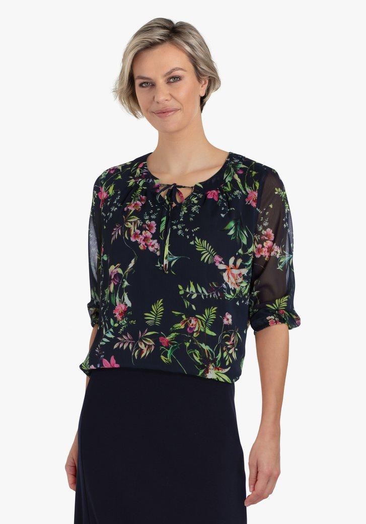 Donkerblauwe blouse met botanische print