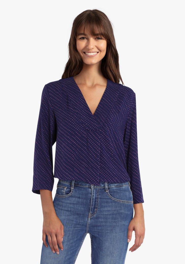 Donkerblauwe blouse met paarse print