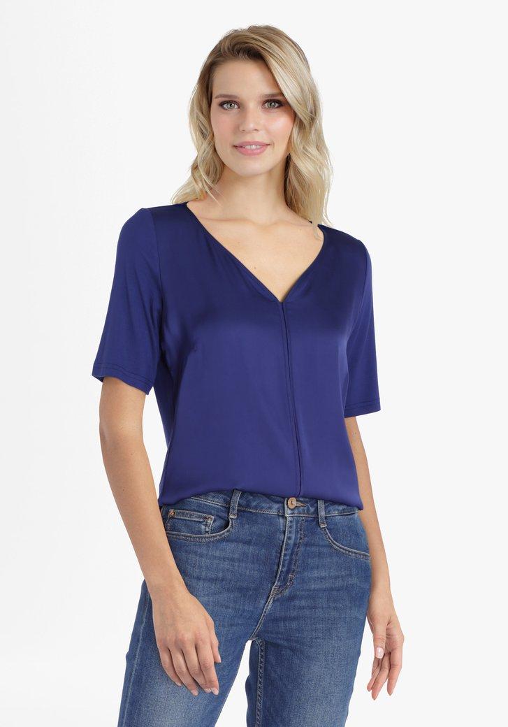 Donkerblauwe blouse met V-hals