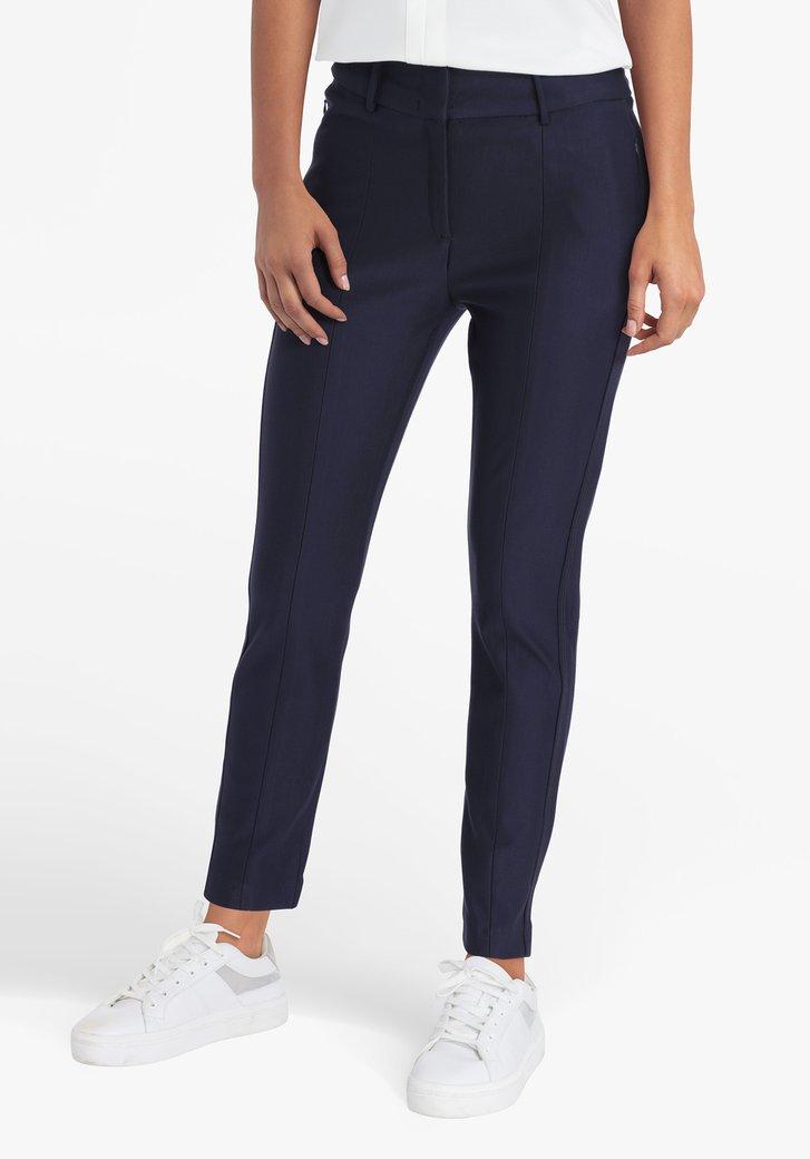 Donkerblauwe broek in elastische stof - slim fit