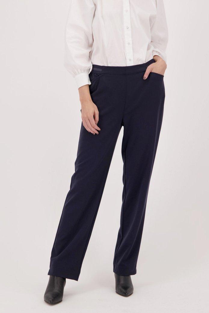 Donkerblauwe broek met elastische tailleband Dames, merk: Claude Arielle