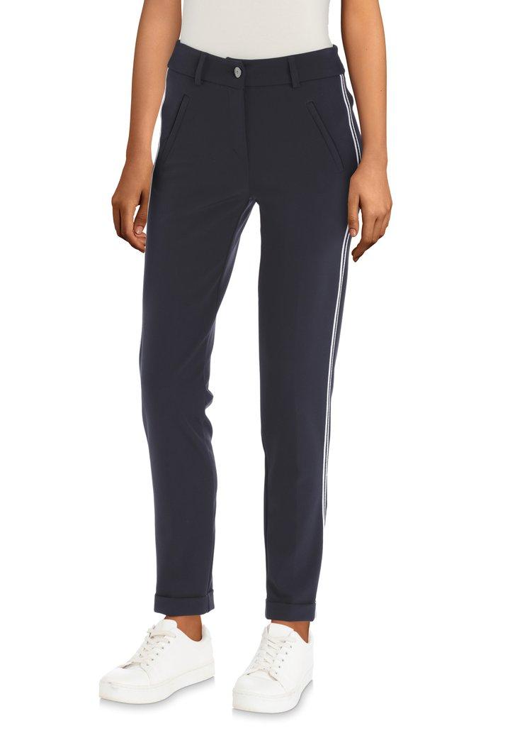 Afbeelding van Donkerblauwe broek met wit biesje - slim fit