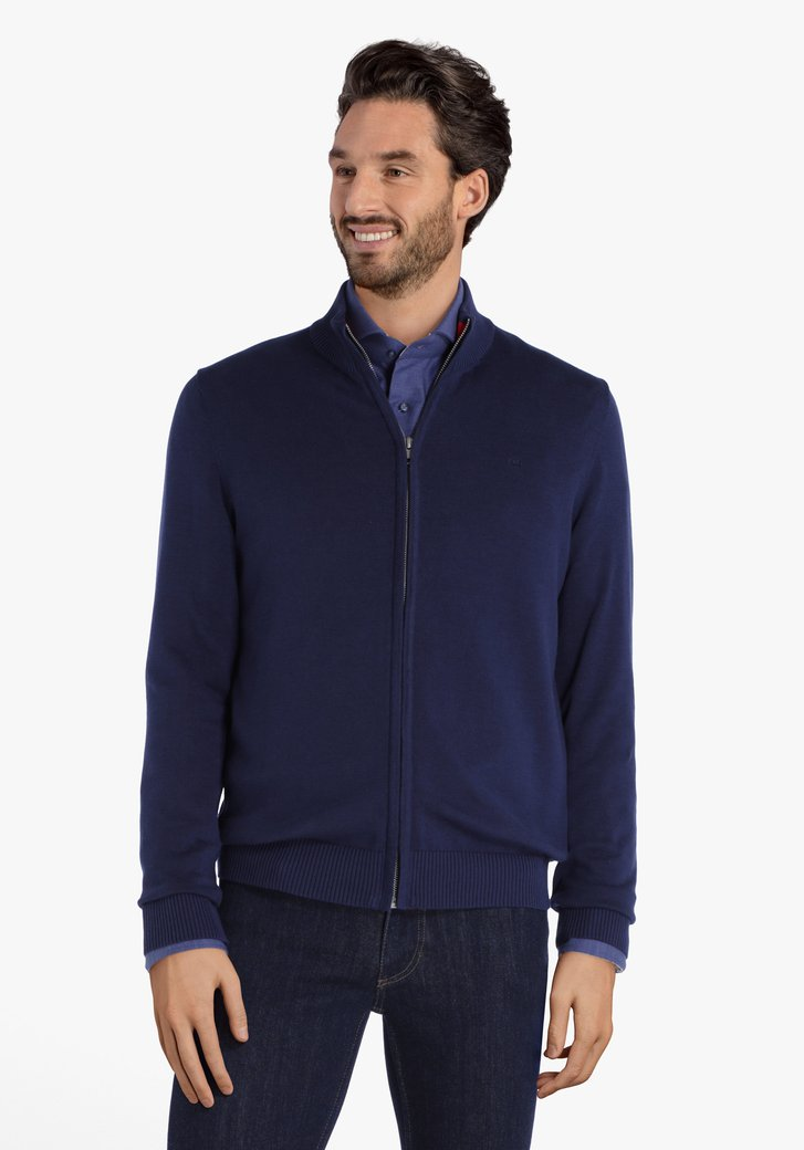 Donkerblauwe cardigan met geribde hals