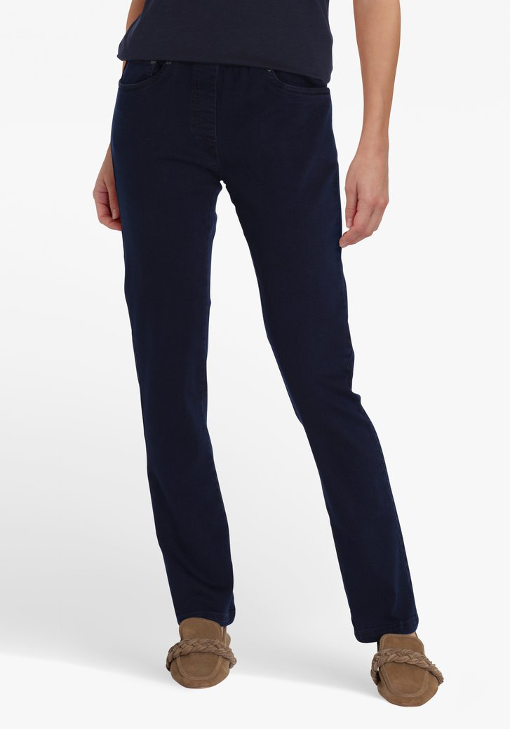 Donkerblauwe denim met stretch - straight fit