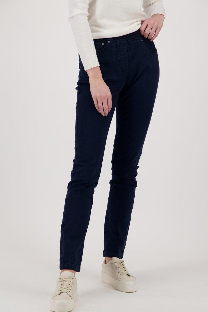 Donkerblauwe denim met stretch - straight fit