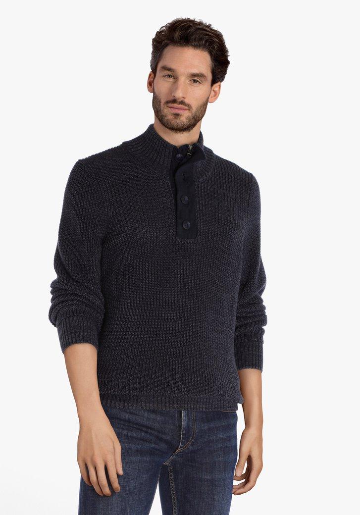 Donkerblauwe gebreide trui met kraag