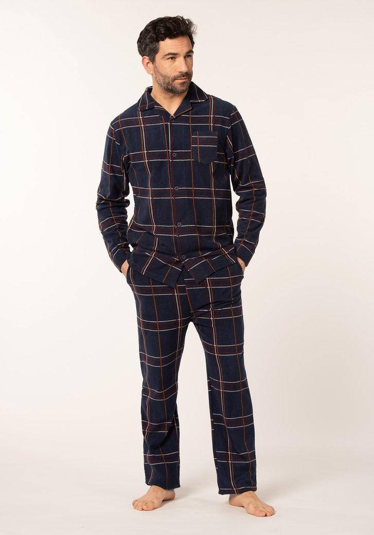 Donkerblauwe geruite pyjama