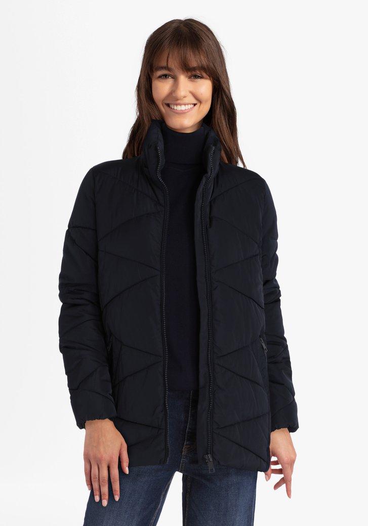 Donkerblauwe gewatteerde jas met afritsbare kap