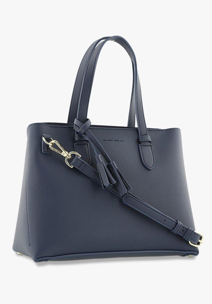 Donkerblauwe handtas in kunstleer