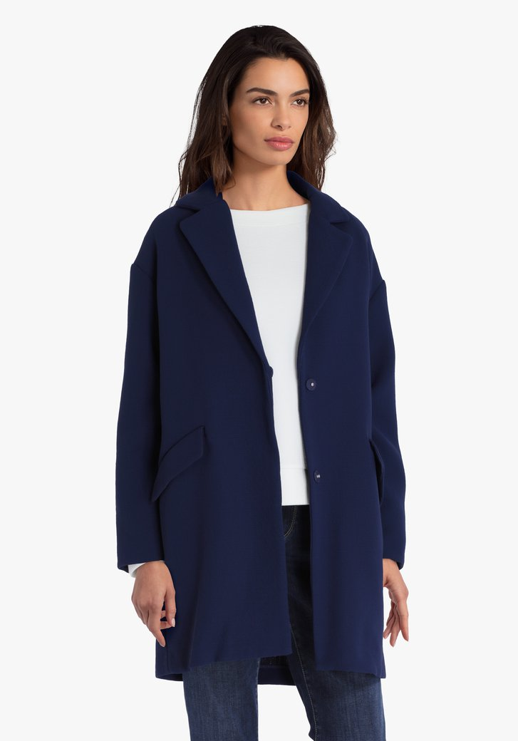 Donkerblauwe jas met oversized effect