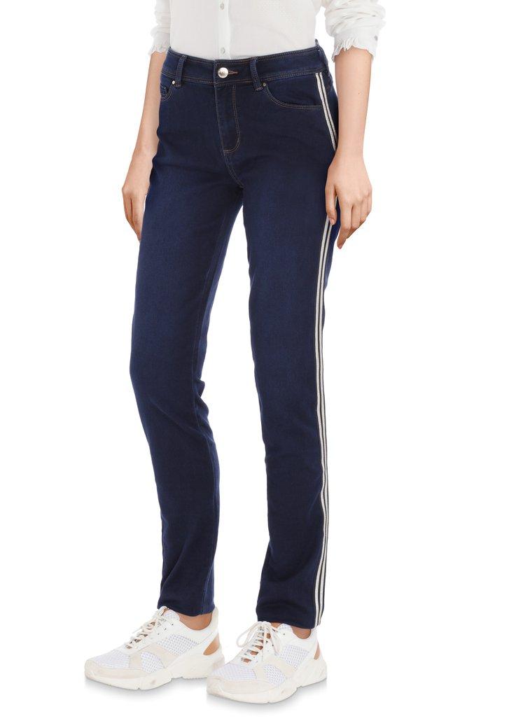 Donkerblauwe jeans met lurex biesje - slim fit