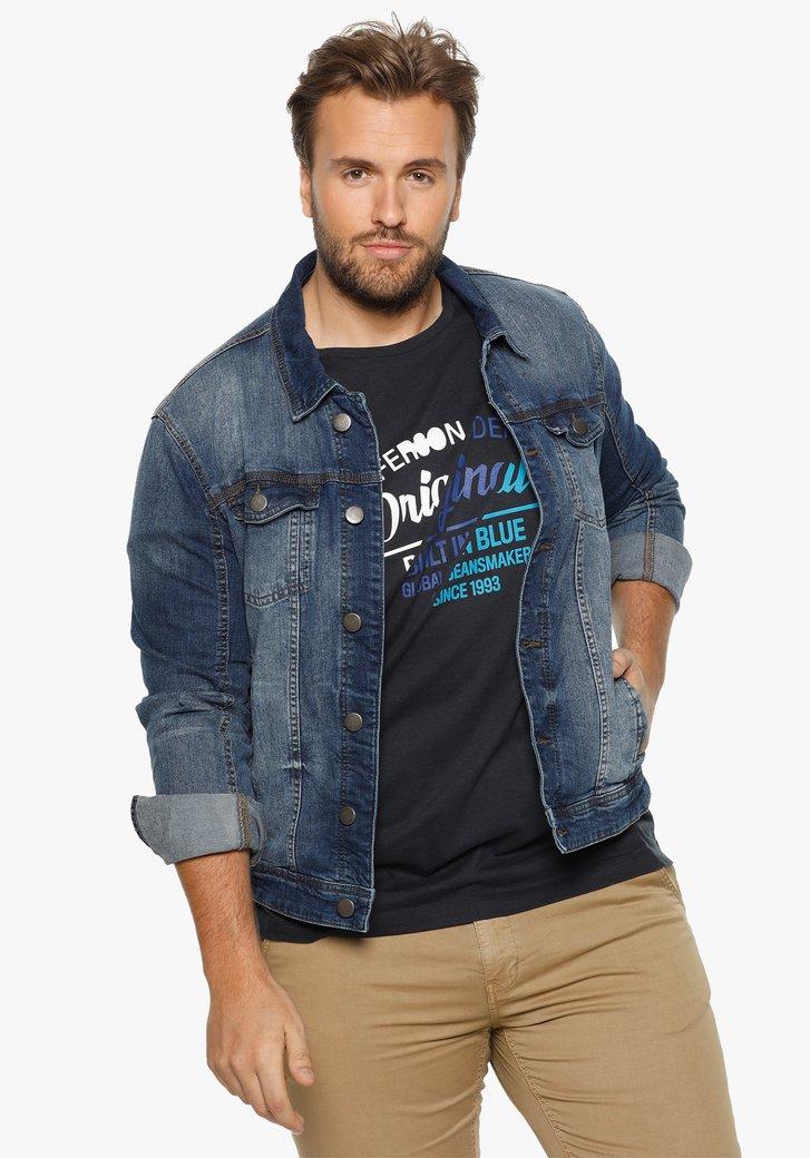 Donkerblauwe jeansjas in stretchkatoen