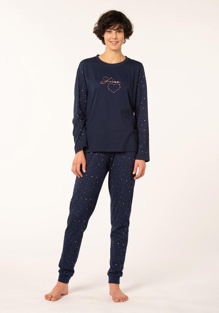 Donkerblauwe katoenen pyjama met opschrift