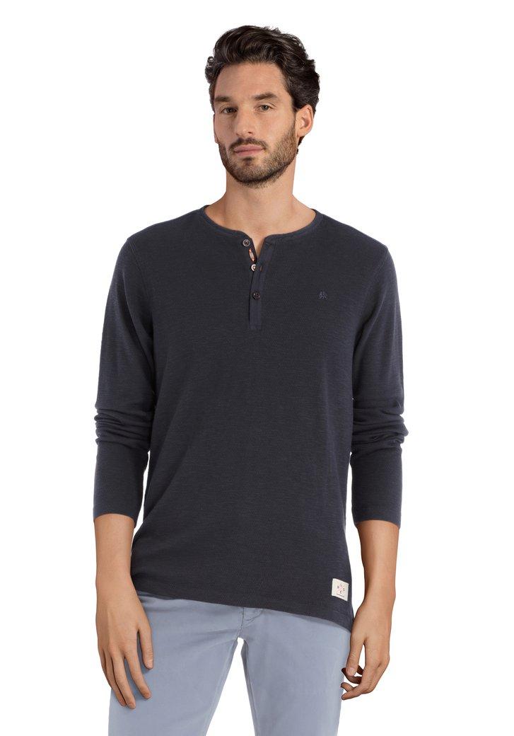 Donkerblauwe katoenen T-shirt met lange mouwen