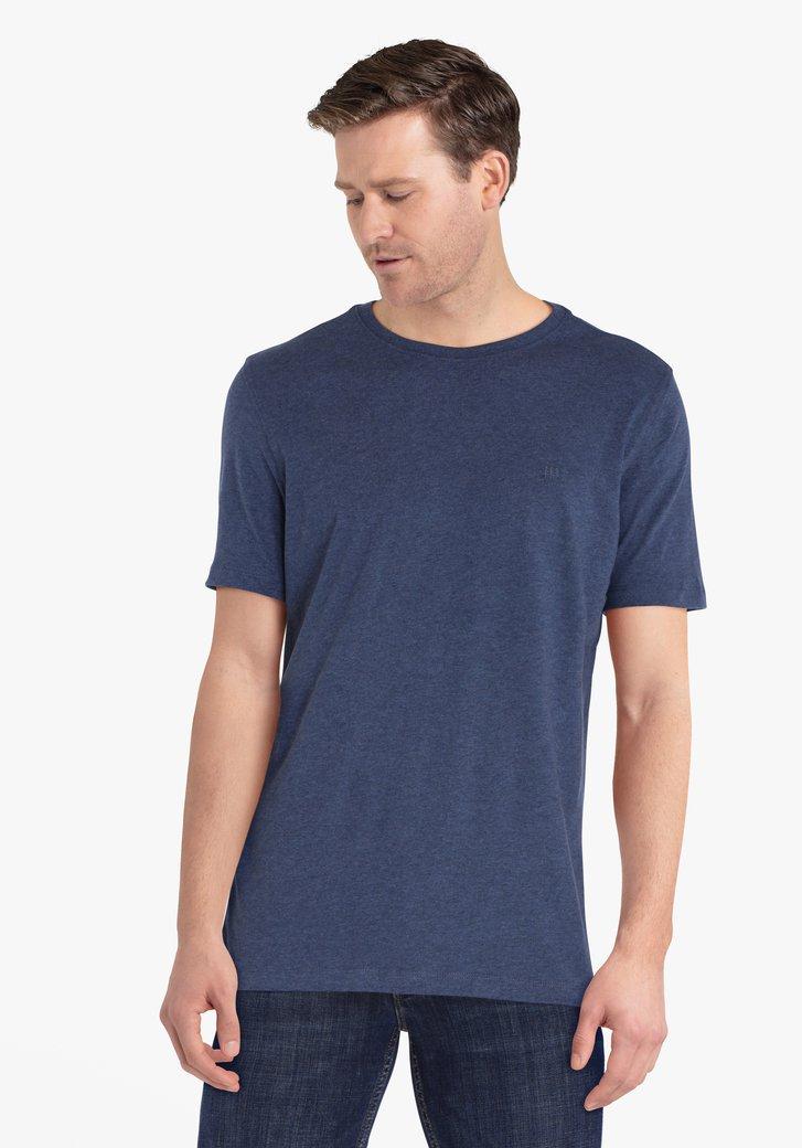 Donkerblauwe katoenen T-shirt