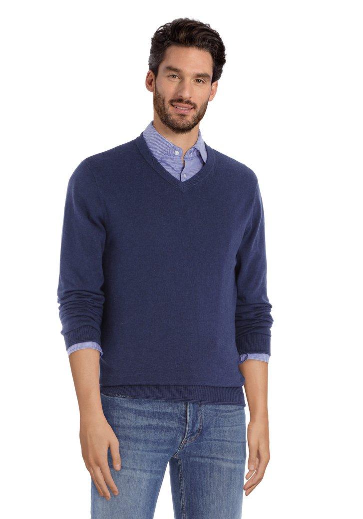 Donkerblauwe katoenen trui met geribde V-hals