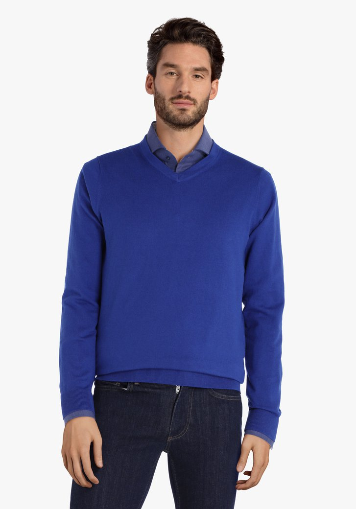 Donkerblauwe katoenen trui met V-hals