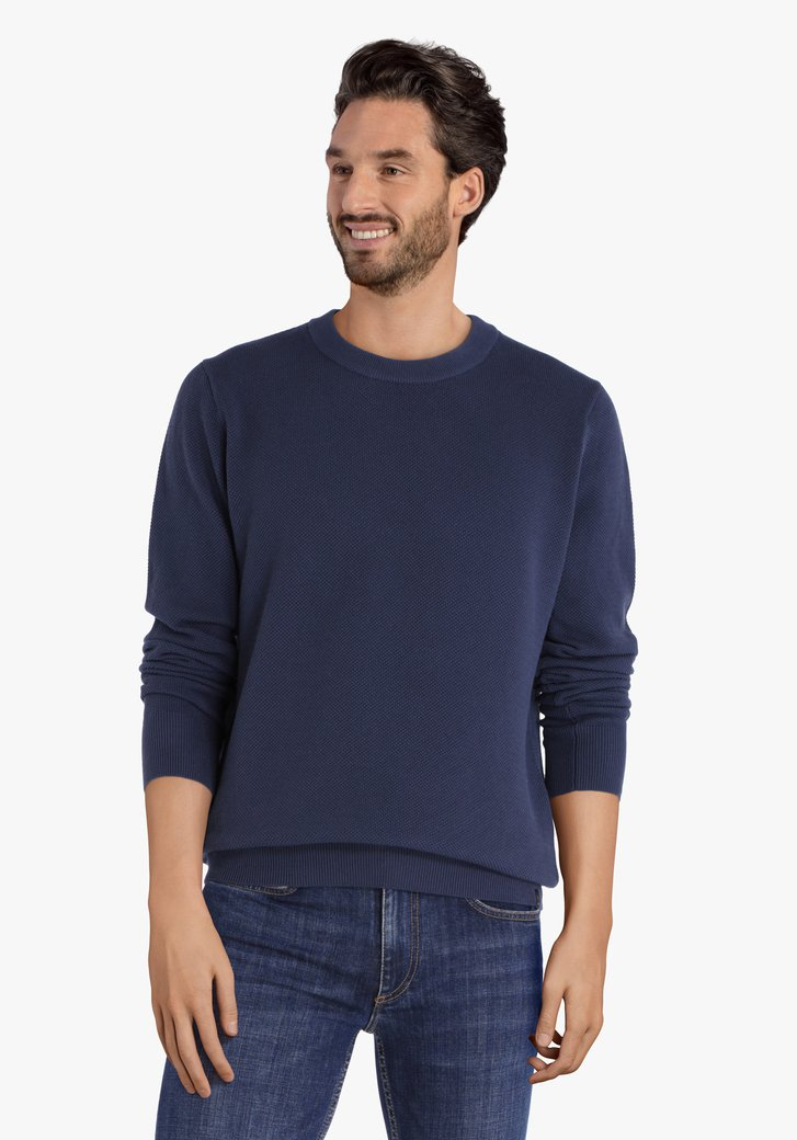 Donkerblauwe katoenen trui