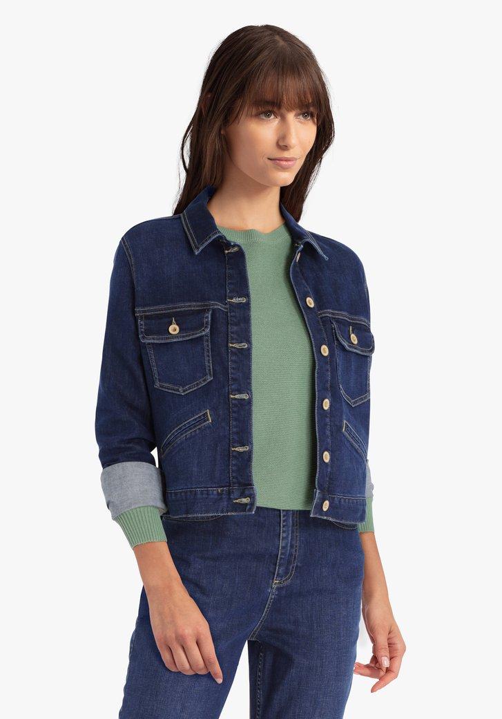 Donkerblauwe korte jeansjas