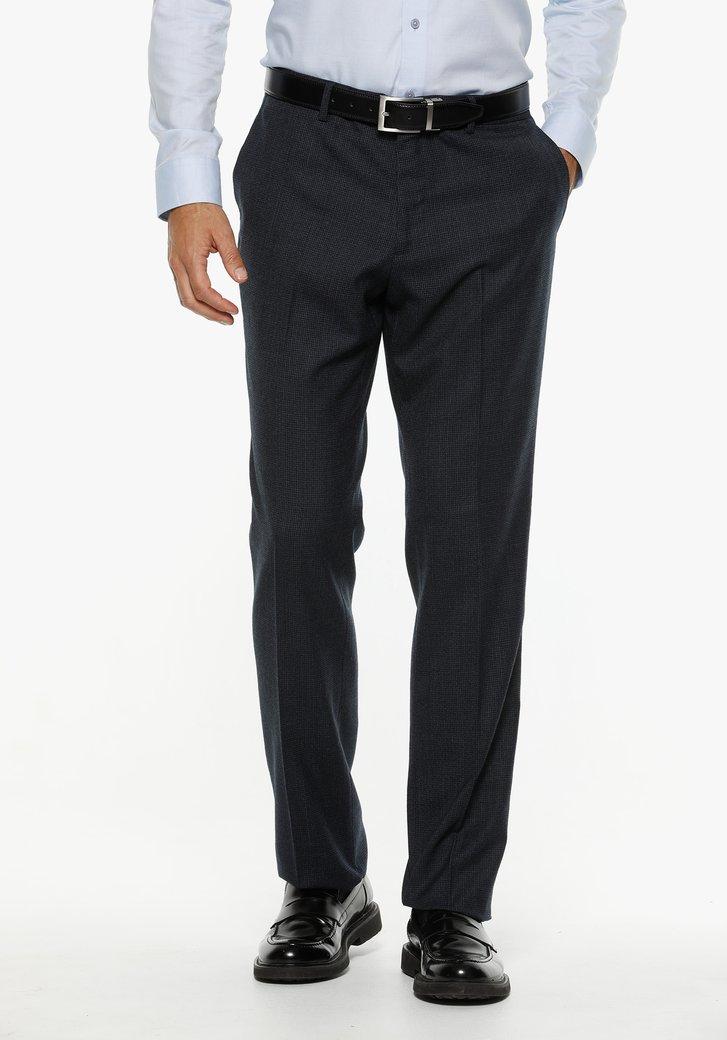 Donkerblauwe kostuumbroek met print - comfort fit