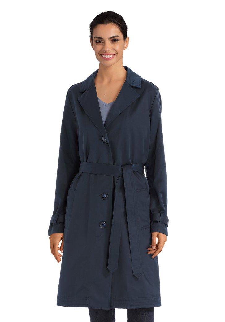 donkerblauwe lange regenjas met riem van sarandi   5161006   e5 mode
