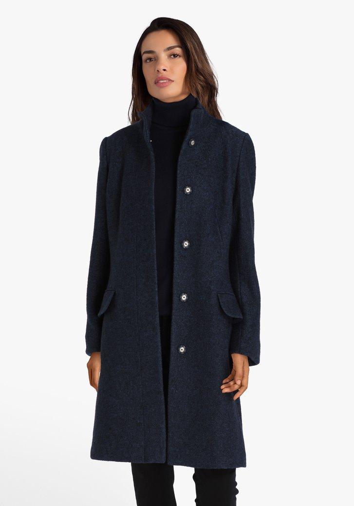 Donkerblauwe mantel met wol
