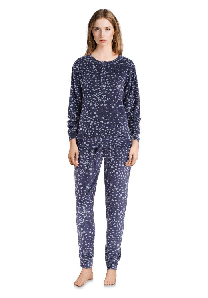 Donkerblauwe pyjama met lichtblauwe print