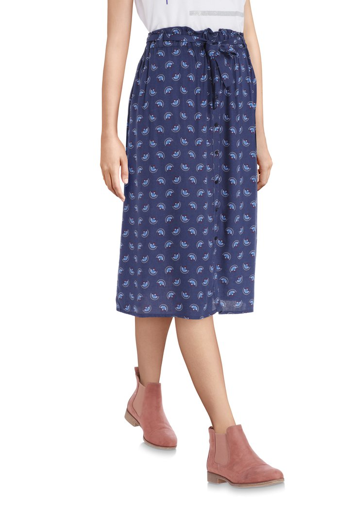 Afbeelding van Donkerblauwe rok met lichtblauwe veertjes