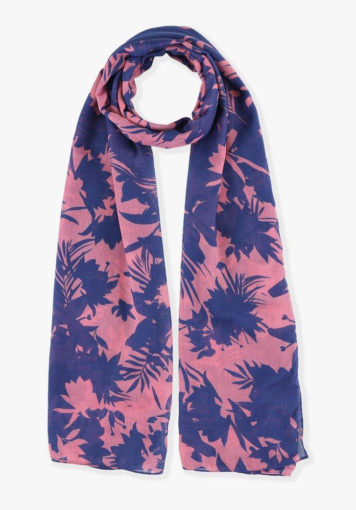 Donkerblauwe sjaal met roze bladerprint
