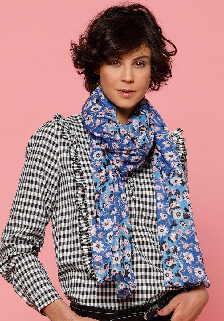 Donkerblauwe sjaal met roze bloemen