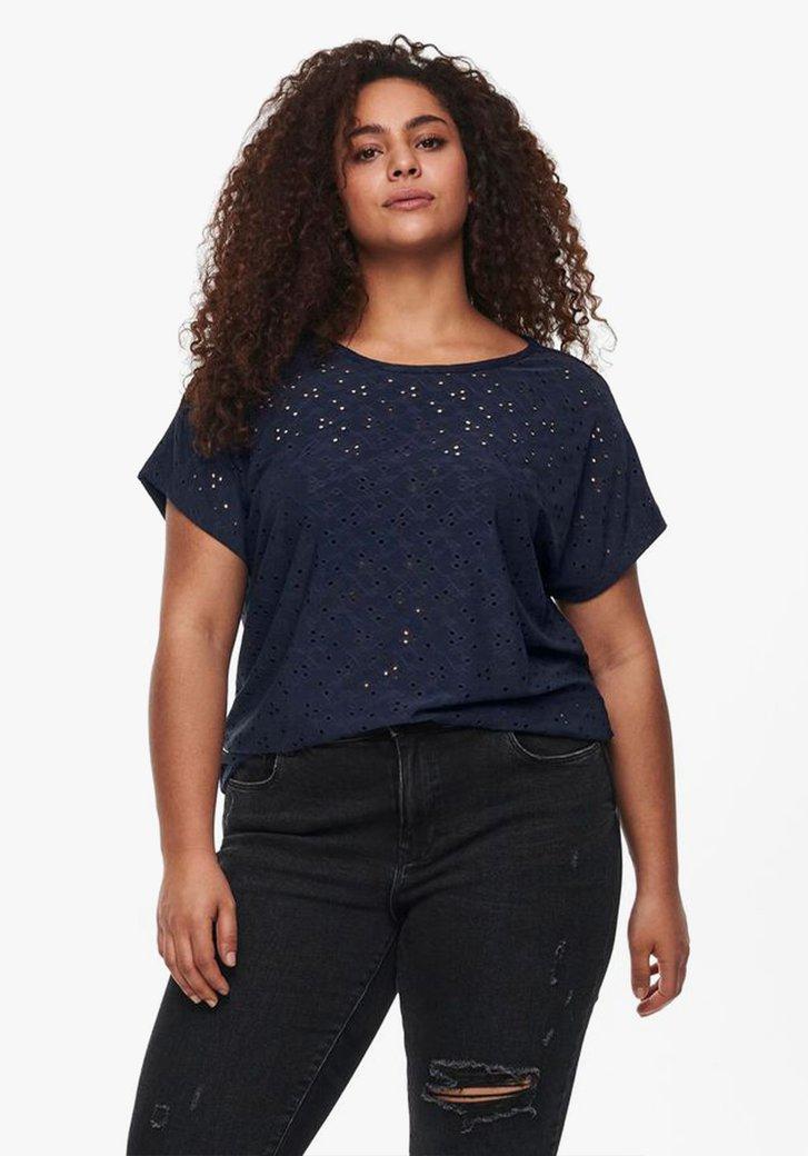 Donkerblauwe T-shirt in structuurstof