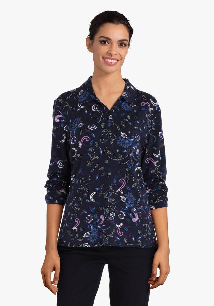 Donkerblauwe T-shirt met fijne print