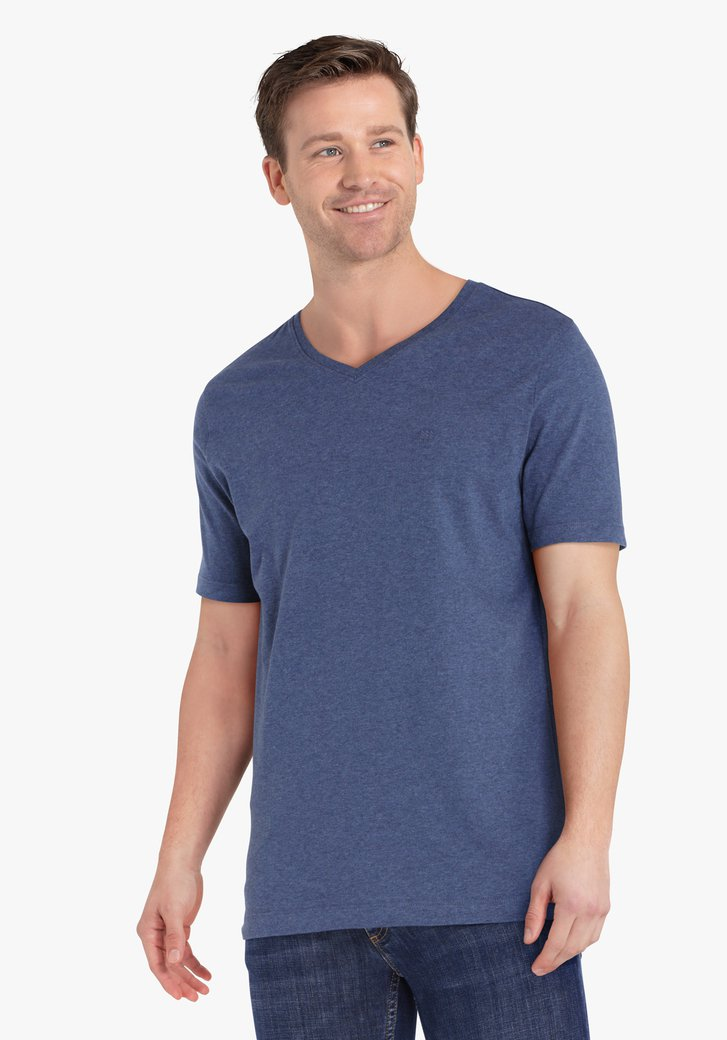 Donkerblauwe T-shirt met V-hals