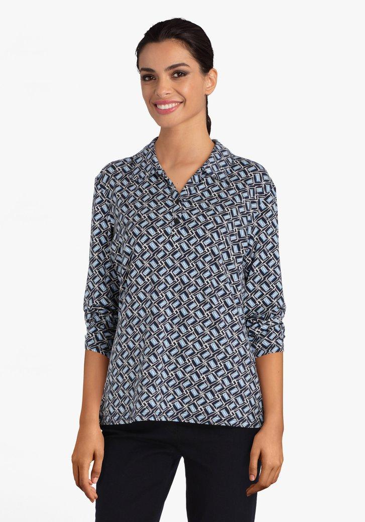 Donkerblauwe T-shirt met wit-blauw patroon