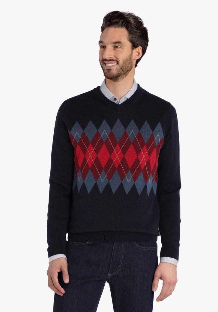 Donkerblauwe trui met argyle