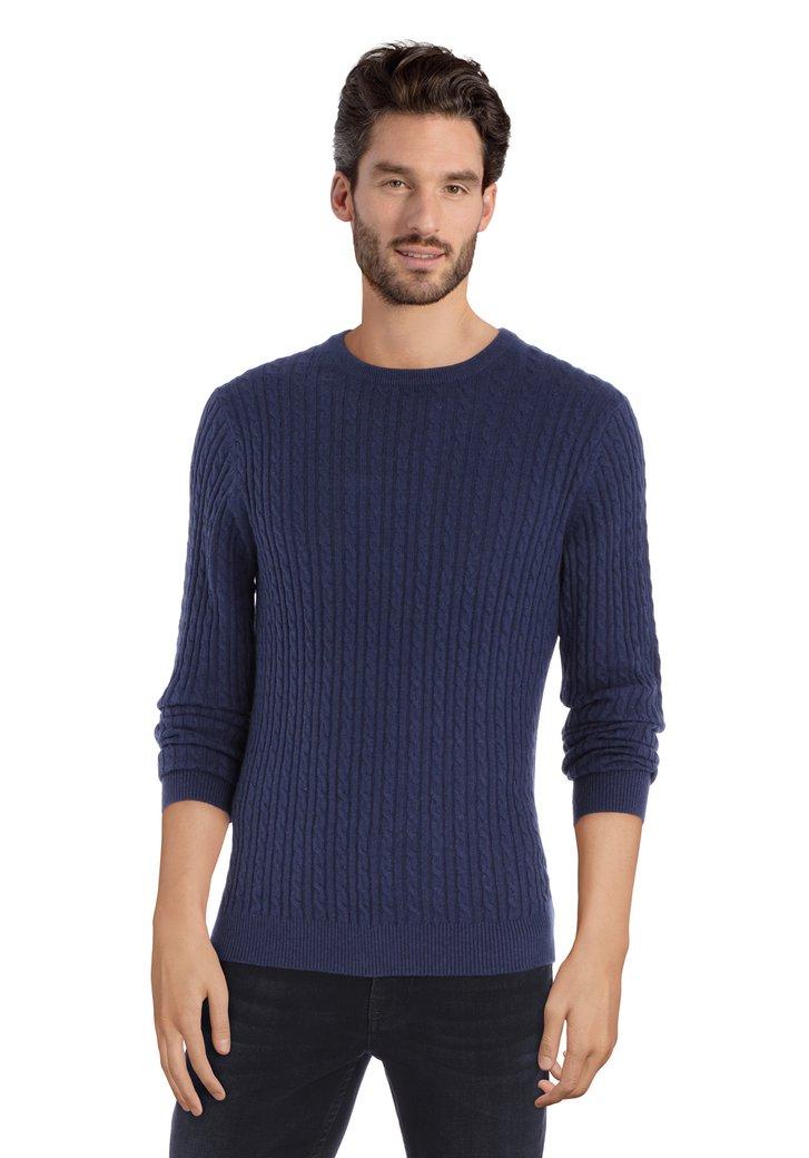 Afbeelding van Donkerblauwe trui met kabelmotief en ronde hals