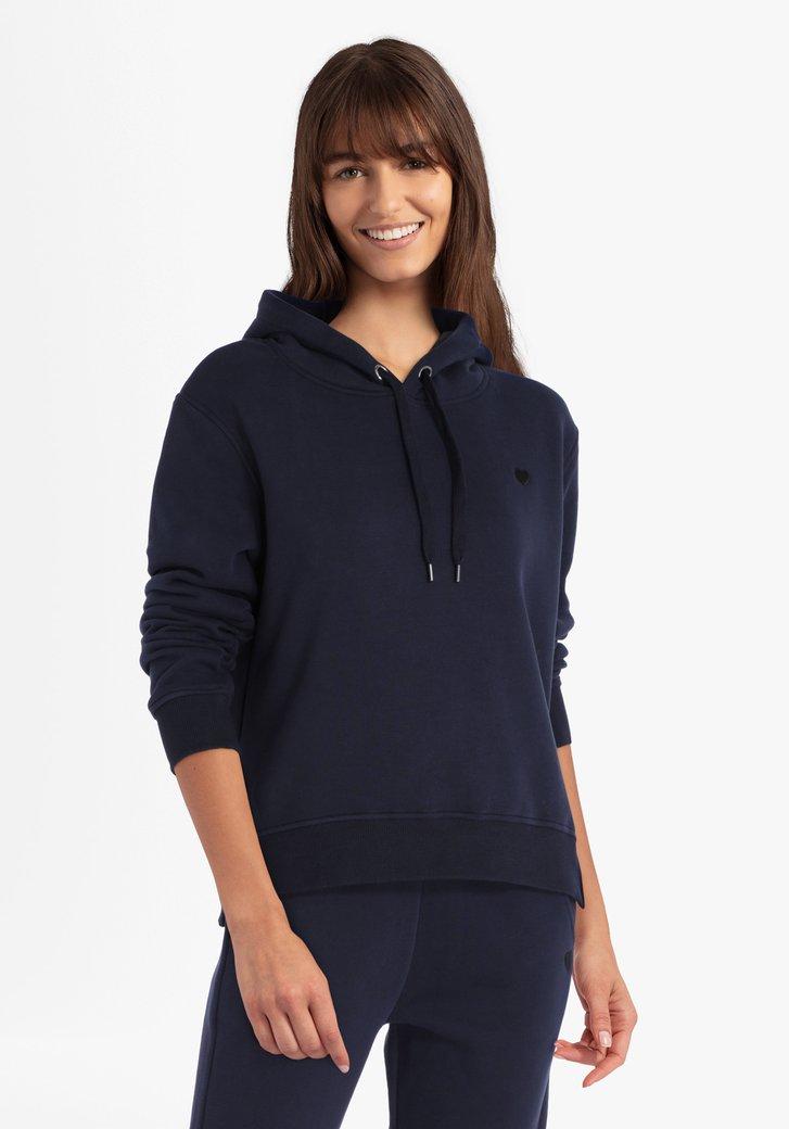Donkerblauwe trui met kap