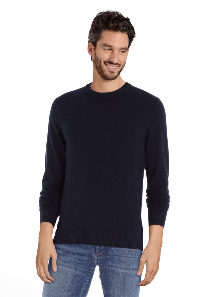 Afbeelding van Donkerblauwe trui met ronde geribde hals