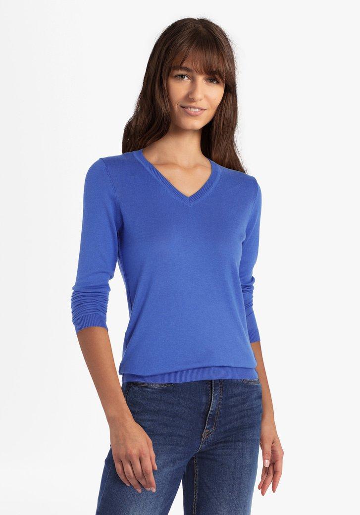 Donkerblauwe trui met V-hals