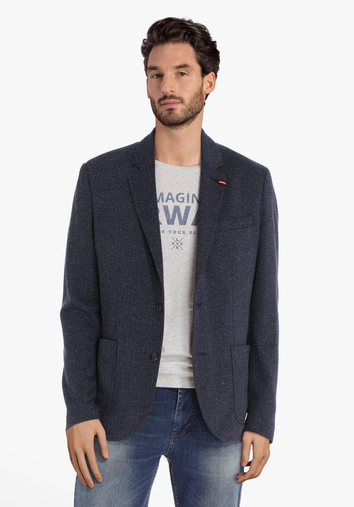 Donkerblauwe vest met visgraatmotief