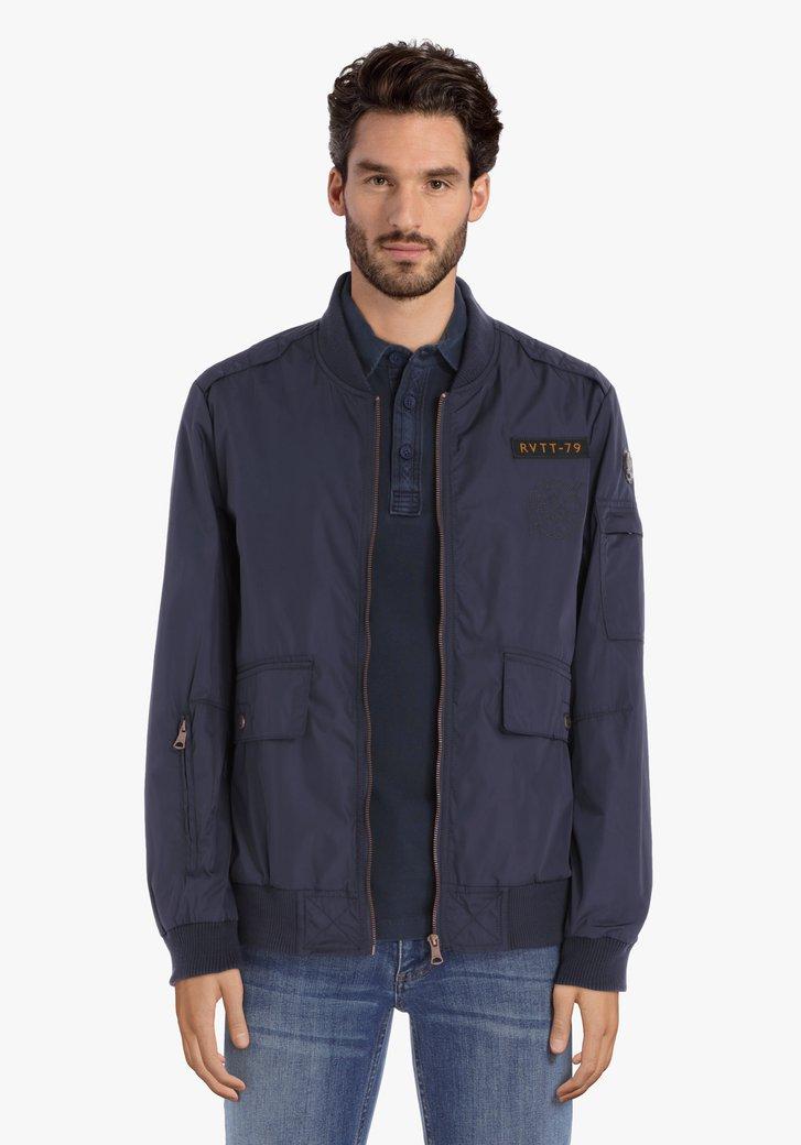 Donkerblauwe waterafstotende jas