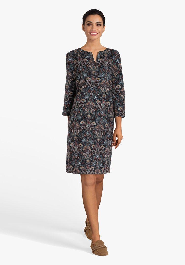 Donkerbruin recht kleed met paisley print