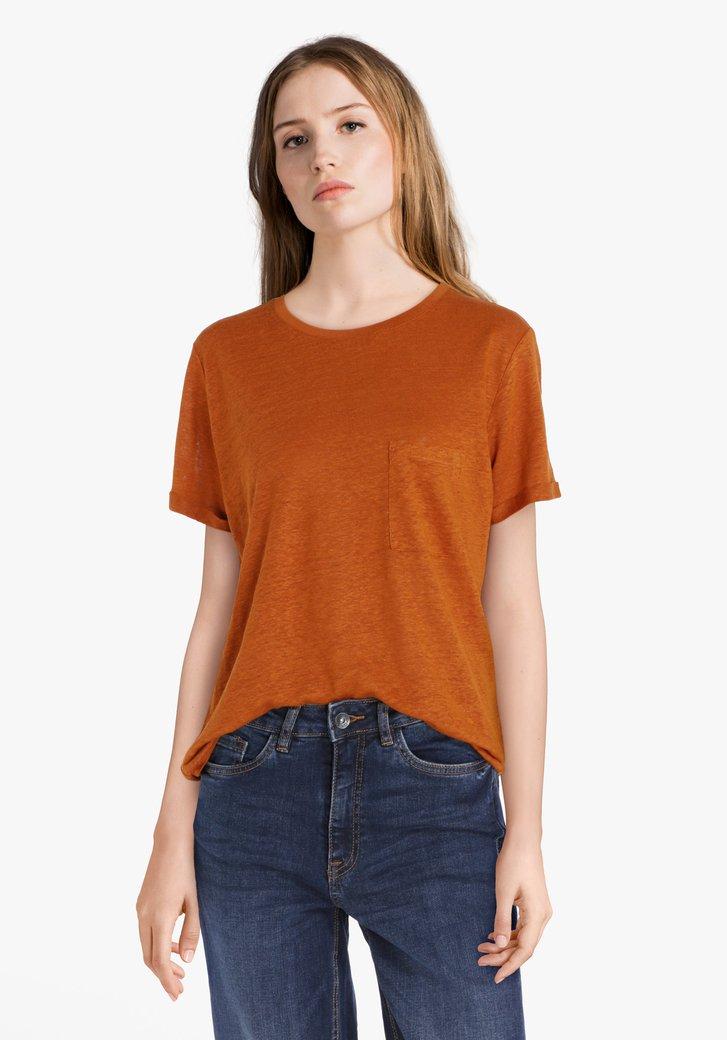 Donkerbruin T-shirt met borstzakje