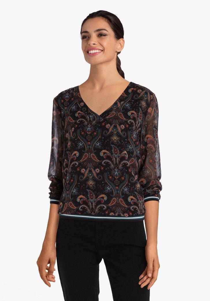Donkerbruine blouse met paisley print