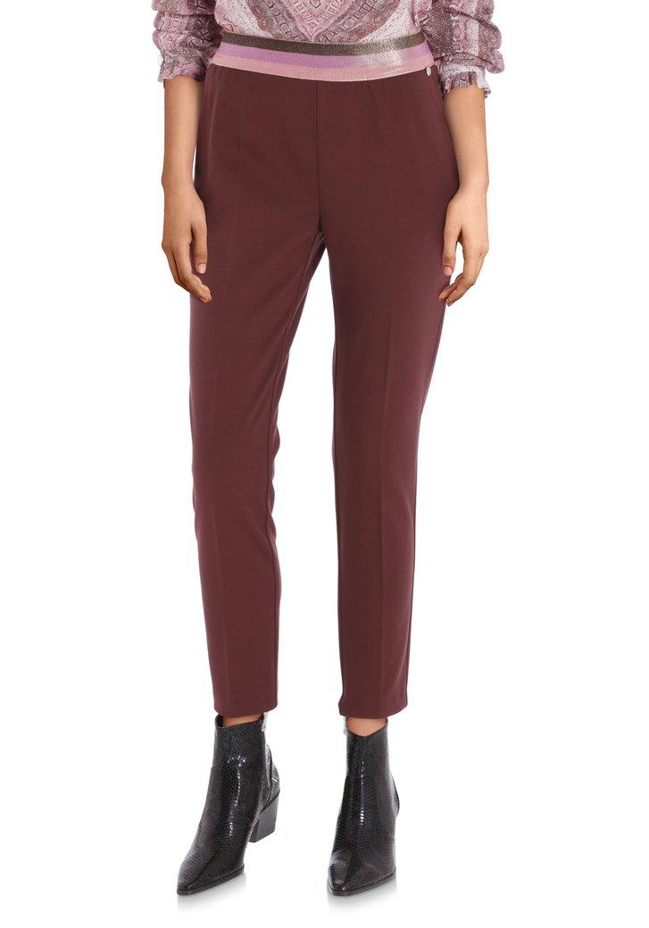 Afbeelding van Donkerbruine broek met roze taille - slim fit