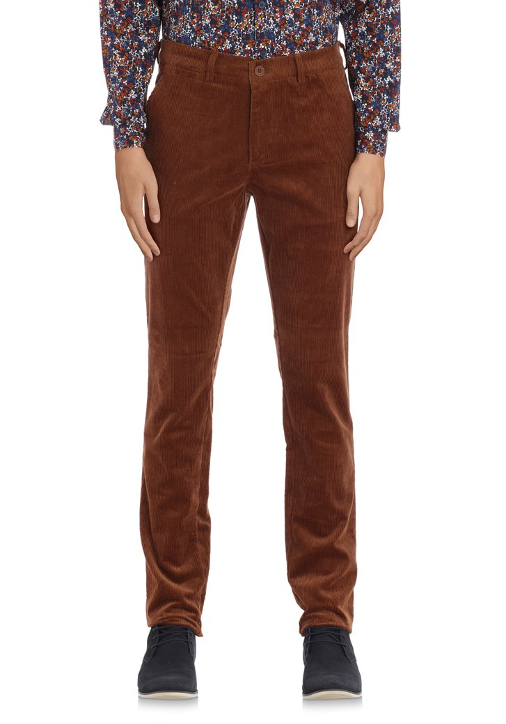 Donkerbruine chino in ribfluweel - slim fit