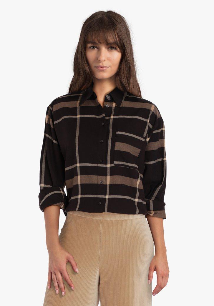 Donkerbruine geruite blouse