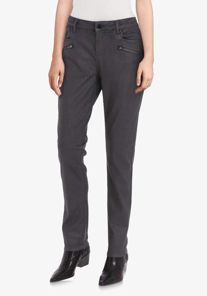 Donkergrijze broek met coating – slim fit