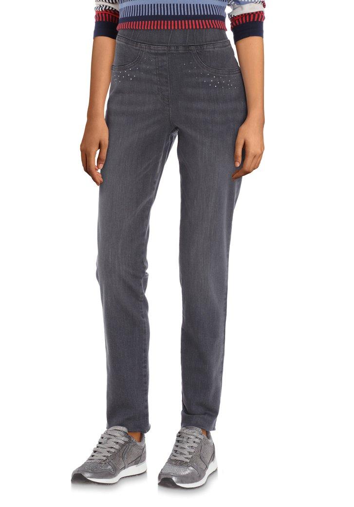 Donkergrijze jeans met strass - slim fit