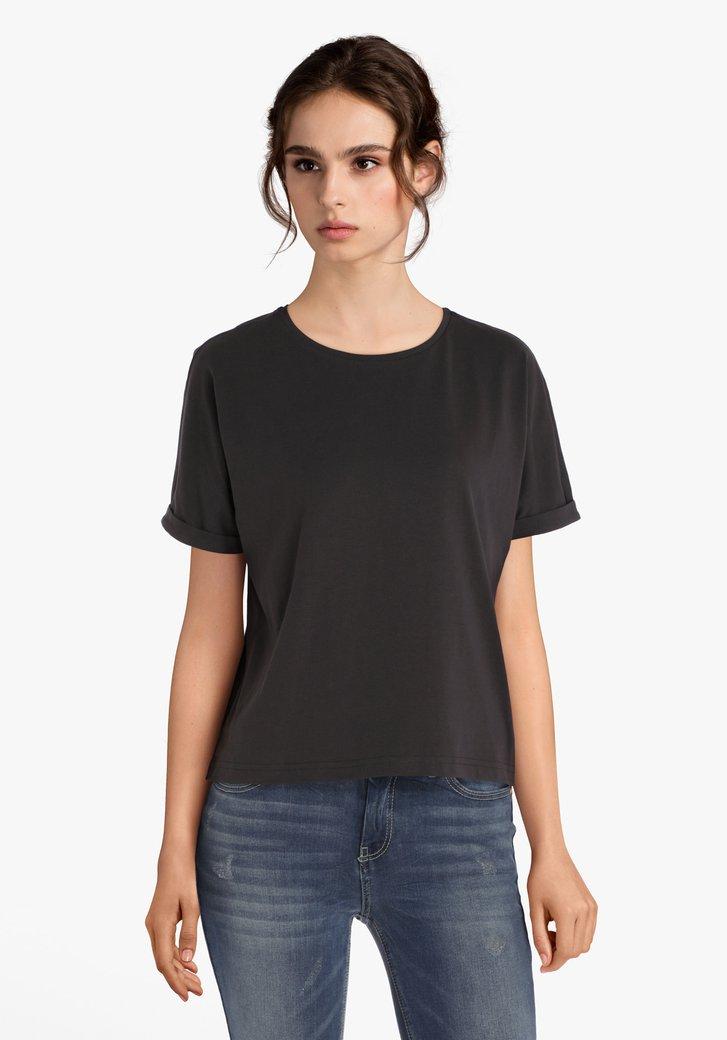 Donkergrijze katoenen T-shirt